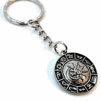 Zodiac Unisex Astrology Signs Sun Moon Stars Necklace Keychain