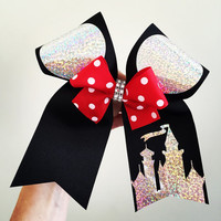 Deluxe holographic mickey ears Cheer Bow Castle with mini Bow