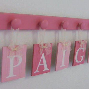 Baby Girl Name Sign Includes Personalized Alphabet Wall letters and 5 Wooden Hooks in Pink  Custom Order for PAIGE