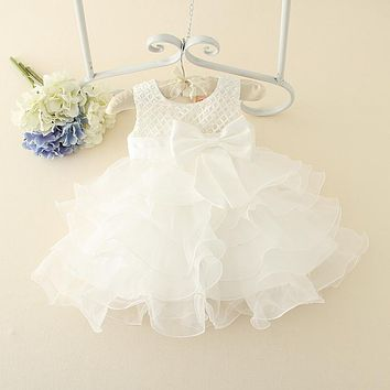 Hot Lace flower girls wedding dress baby girls christening cake dresses for party occasion kids 1 ye