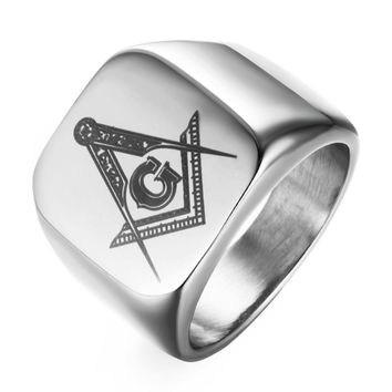 Drop shipping Hot sale punk high quality 316L Stainless Steel Masonic Ring for Men master masonic signet ring mason ring jewelry
