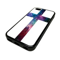 Apple iPhone 5C 5 C Case Cover Skin Nebula Cross DESIGN BLACK RUBBER SILICONE Teen Gift Vintage Hipster Fashion Design Art Print Cell Phone Accessories