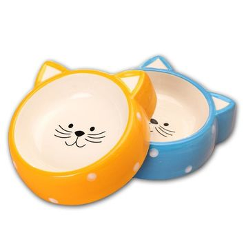 Cartoon Cat Face Shape Ceramic Feeding Drinking Bowl