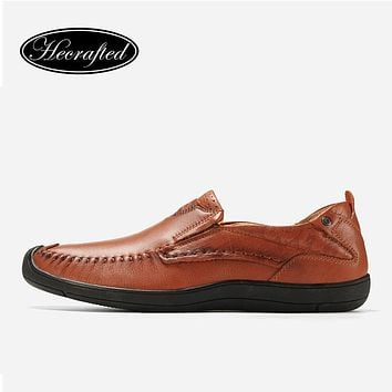 Casual Shoes Men Brown Slip On Genuine Leather Fashion Loafers Men