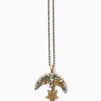 Pyrite Moon and Star Necklace