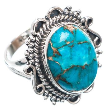 Solid 925 Silver Blue Copper Turquoise Ring