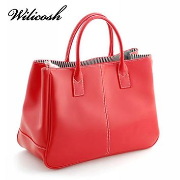 Women Fashion PU Leather Handbags Top-Handle Bags Tote Shoulder Messenger Bag
