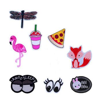 ac NOOW2 New Dragonfly Flamingo Drink Pizza Fox Eyes Patches Iron On Or Sew Fabric Sticker For Clothes Badge Embroidered Appliques DIY