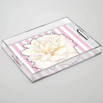 Pale Rose on Stripes Acrylic Tray by drawingsbylam