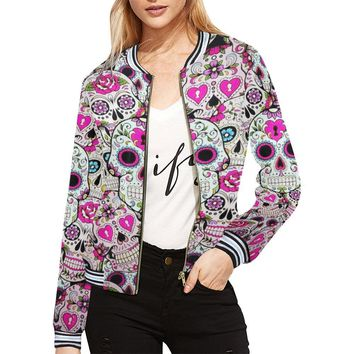 Sugar Skull Design 2 Women's All Over Print Horizontal Stripes Jacket