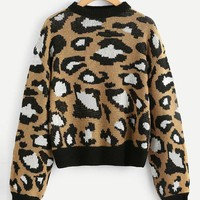 Thick Knit Leopard Sweater