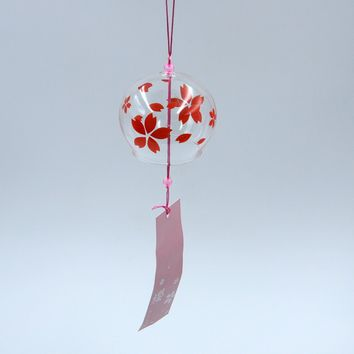 Glass Wind Chime Bell Hanging Ornament Decor Sakura Cherry Blossom Pattern