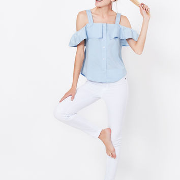 LE3NO Womens Summer Button Down Off Shoulder Ruffle Top