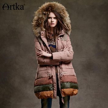 Artka Women Duck Down Jacket Winter Long Parka Female Warm Outerwear Hooded Windbreaker Detachable Fur Collar Raincoat YK12348D