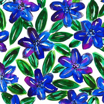 Blue Flower Leaves Watercolor Painting