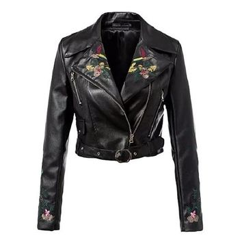 [15227] Embroidered Leather Short Jacket