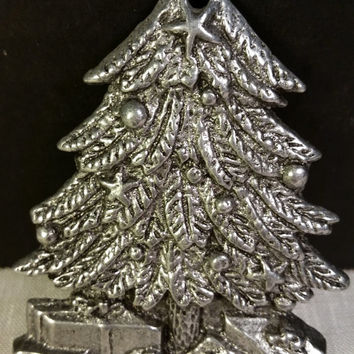 Pewter Christmas Tree Ornament Silver Metal Decorated Christmas Tree Presents Ornament Keepsake Collectible Holiday Gifts Tree Accent Gift