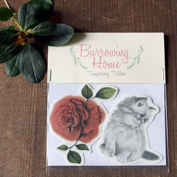 Temporary Tattoos Kitten and Rose  (Includes 2 tattoos)