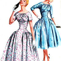 1950s Dress Pattern Simplicity 1537 Womens Drop Waist Evening Dress Full Skirt Pleated Bodice Vintage Sewing Pattern Bust 32