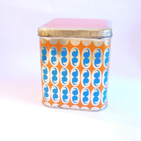 Blue, Orange Tin Box, Vintage Metal Box W/ Abstract Pattern, Big Tin Box For Vintage Storage, Tin Container