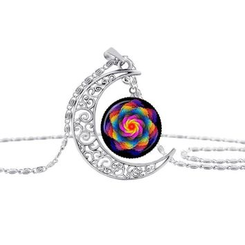 HOT! enamel mandala flower silver Moon necklace charm henna yoga pendant handmade necklace India jewelry om symbol buddhism S26 1