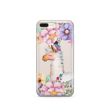 CLEARANCE iPhone 7 Clear Case Cover - Floral Llama