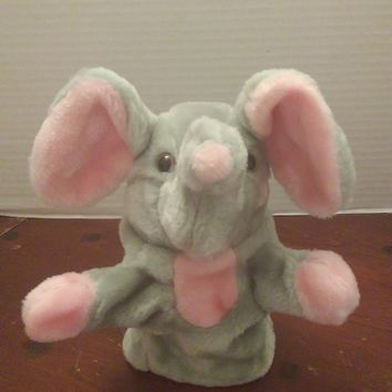 vintage midwestern home products gray elephant hand puppet plush