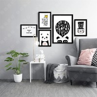 M9 Panda Modern Printings Wall Decor back white Digital Poster Canvas Picture Wall Art Paintings Quadro Nursery Kids Room Decor
