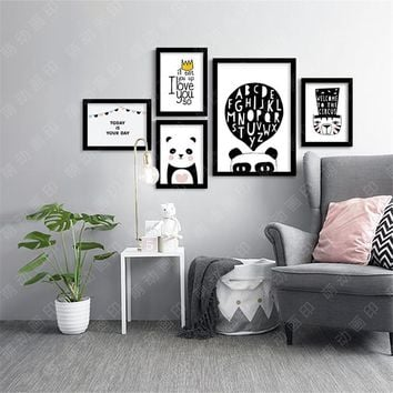 M9 Panda Modern Printings Wall Decor Back White Digital Poster C