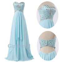 Amazing ice blue chiffon floor length custom-made prom dress, graduation dress, party dress with sequins