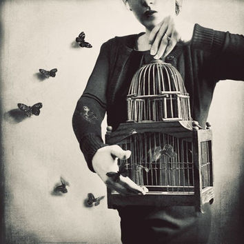 Surreal Portrait, Butterfly Photography, Whimsical Photo, Surreal Art, Black and White, Butterflies, Birdcage, Bedroom Decor, Large Wall Art
