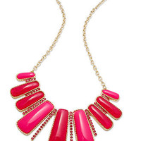 Style&co. Necklace, Gold-Tone Pink Raspberry Rectangle Frontal Necklace - Fashion Jewelry - Jewelry & Watches - Macy's