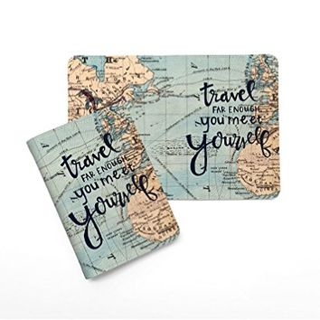 Travel Far Enough To Meet Yourself World Map Leather Passport Holder - Passport Protector - Passport Cover - Passport Wallet_SUPERTRAMPshop