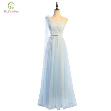 Bridesmaid Dresses Styles Floor-length Light Blue Tulle Bride Banquet Party Formal Dress Custom Homecoming Dresses