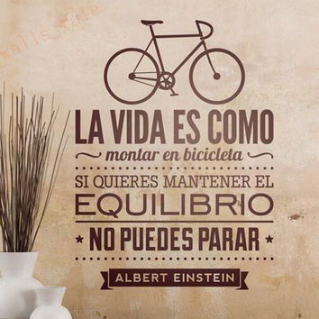 Vinilos decorativos de bicicletas Home Decoration - Life Is Like Riding A Bicycle Spanish Vinyl Wall Decal Stickers Espana