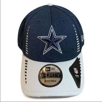 Dallas Cowboys Hat New Era Men's NFL Speed Tech 9FORTY Adjustable Navy Cap