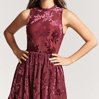 Velvet Burnout Skater Dress - Women - 2000166453 - Forever 21 Canada English