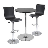 """Spectrum 3 Piece Pub Table Set, 28"""" Round Table with 2 L-Shape Airlift Stools"""