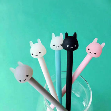 Rabbit Pen, Kawaii Stationary, Gel Style, 0.5mm Writing, School Supplies, Gray, Black, White, Pink