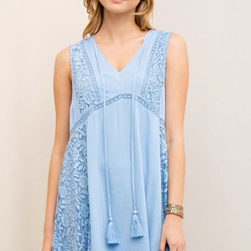 Baby Blue Lace Detail Crinkle Dress