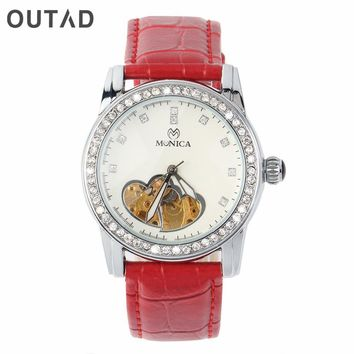 OUTAD Classic Womens Mechanical Watch Heart Hollow Diamond Steel Dial PU Leather Strap Casual Wristwatch relojes mujer