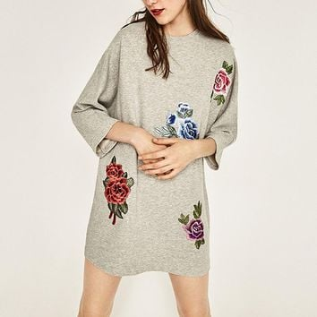 Floral Embroidered Tunic Knit Top