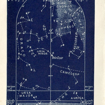 1883  September Stars Maps Set of Four Astronomy Prints, Constellations Northern Hemisphere