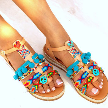 "Blue Artemida"" Friendships  Boho Sandals, Pom pom summer shoes,  Handmade Sandals, Greek Sandals, Bohemian sandals"
