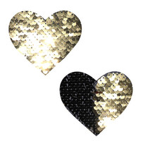 Athena Gold & Black Sequin I Heart U Pasties