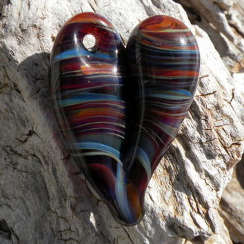 Glass Heart Pendent Purple and Blue Stripes by untamedrose on Etsy