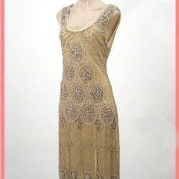1920's Reproduction Gold Beaded Sheba Flapper Dress-20s Vintage Style Dresses