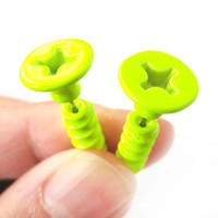 Fake Gauge Earrings: Realistic Screw Shaped Faux Plug Stud Earrings in Neon Yellow
