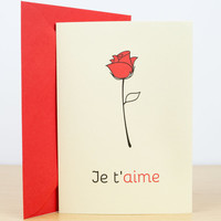 LOVE card - Je t'aime, Valentines card, Love you card, Romantic cards, Valentine card her, Valentine card him, Hand made greeting cards