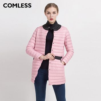 COMLESS New Wool Blend Collar Women Fashion Ultralight Down Parka Long Sleeve Mid-Long Women Coat Slim Fit Women Down Jacket